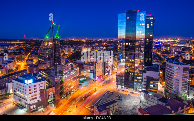 Tallinn, estonia at the financial district. - Stock-Bilder