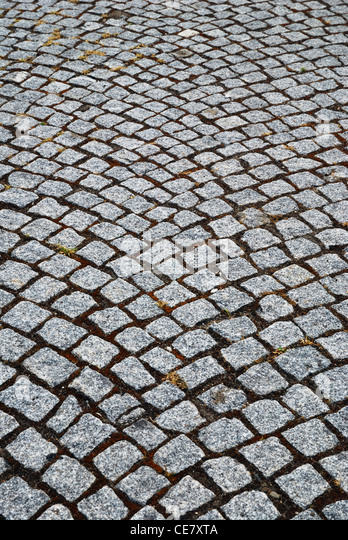 Granite stones of pitcher paving - Stock Image