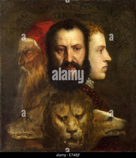 The Allegory of Age Governed by Prudence - by Titian, 1565–1570 - Stock Image