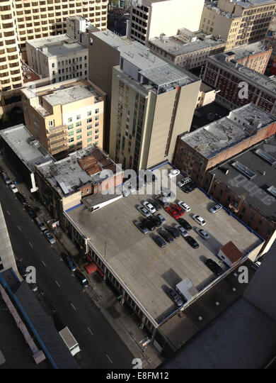 USA, California, San Francisco, Rooftop car park and city buildings - Stock-Bilder