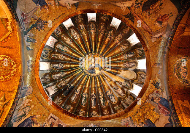 One of the domes in Chora Church, with a beautiful mosaic of Jesus Christ ('Pantokrator'), Istanbul, Turkey - Stock Image