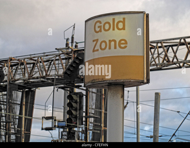Gold Zone Virgin trains sign, Warrington Bank Quay, Parker St, Warrington, Cheshire , UK - Stock Image