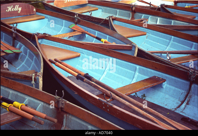 Rowing boats Oxford UK - Stock Image