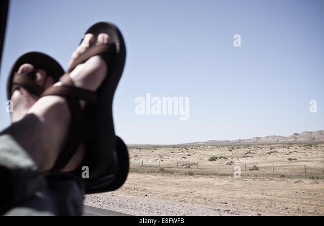 USA, Wyoming, Relaxing during road trip - Stock Image