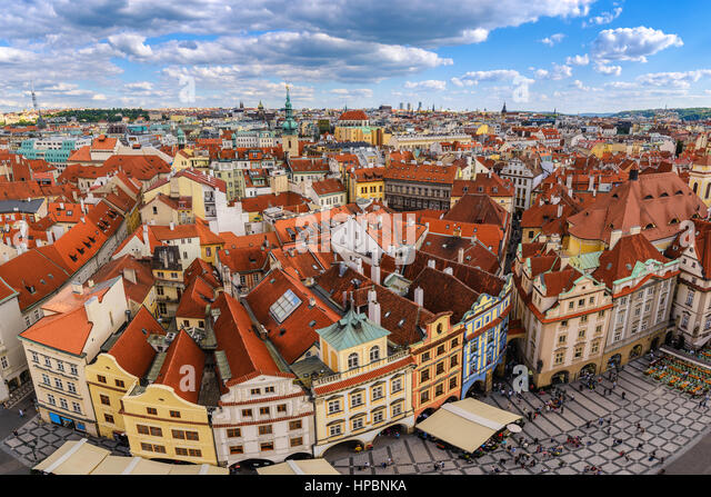 Prague city skyline at old town square, Prague, Czech Republic - Stock Image