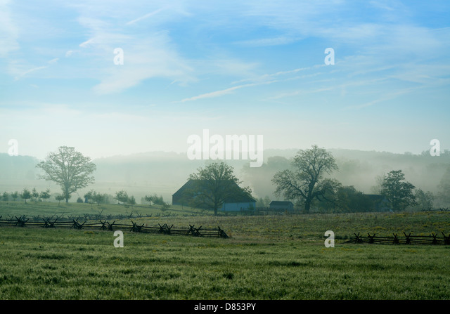 The Trostle Farm and battlefield, Gettysburg National Military Park, Pennsylvania, USA - Stock Image