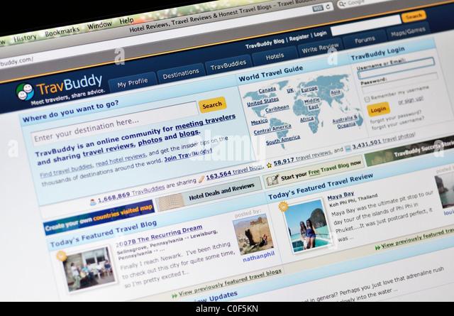 TravBuddy hotel review and travel blogs website - Stock-Bilder