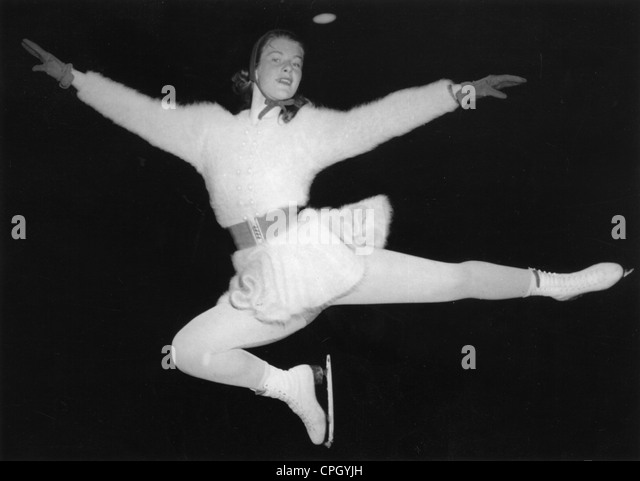 Busch, Gundi, * 29.4.1935, German athelete (figure skater), full length, during European championship, Westfalenhalle, - Stock Image
