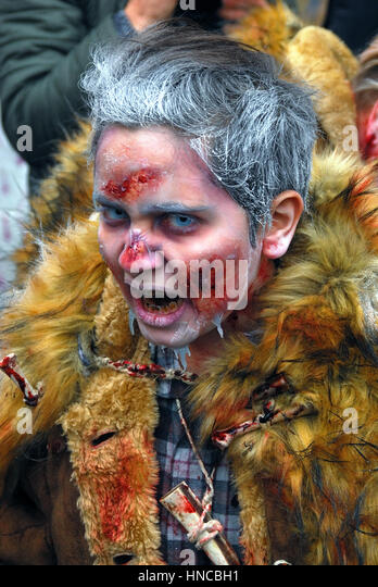 Venice, February 11th, 2017. On the opening day of 2017 Venice Carnival, the Zombie Walk Venezia takes place in - Stock Image