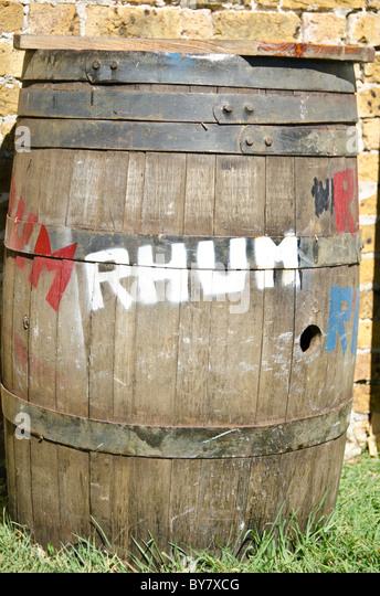 old rum barrel spelled as rhum barrel, nelsons dockyard national park, enlish harbor, antigua - Stock Image
