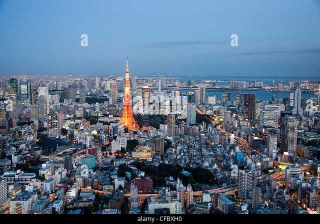 Japan, Asia, Tokyo, city, Tokyo Skyline, Tokyo Tower, architecture, big, buildings, city, downtown, huge, lights, - Stock-Bilder