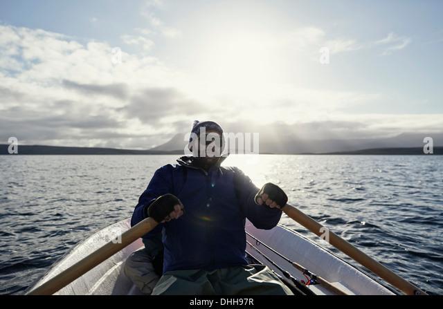 Man on fishing trip - Stock Image