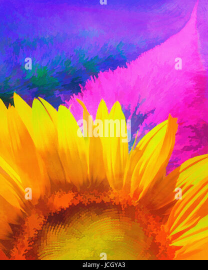 DIGITAL PAINTING: Lavender and Sunflower - Stock Image