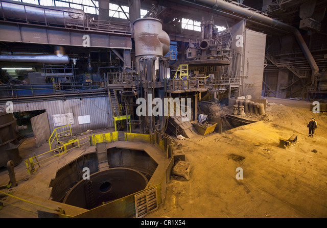 Machinery in steel forge - Stock Image