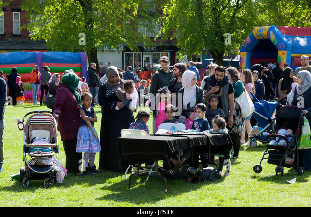 People enjoying the Celebrate Festival, Whalley Range, Greater Manchester - Stock Image