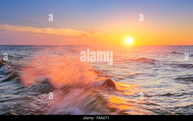 Sunset at Baltic Sea, Pomerania, Poland - Stock Image
