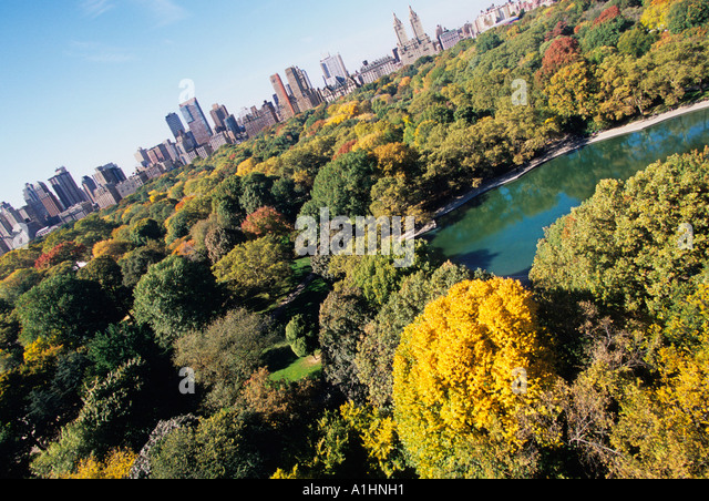 USA New York City Aerial View of Central Park and The Boat Pond Conservatory Water in Autumn N - Stock Image