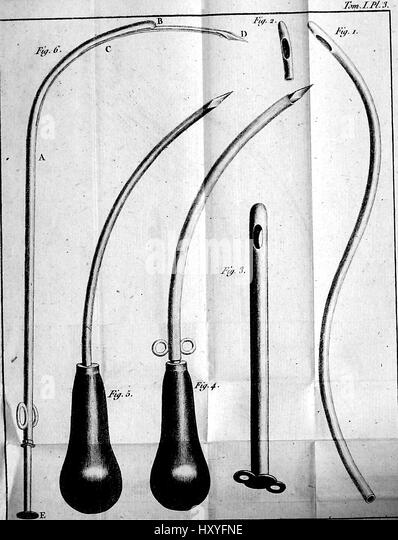 Medical illustration depicting a variety of medical instruments used in various surgery techniques, 1794 - Stock Image
