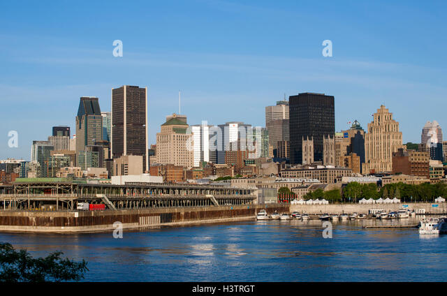 City Skyline with Saint-Lawrence river, Montreal, Quebec, Canada - Stock Image