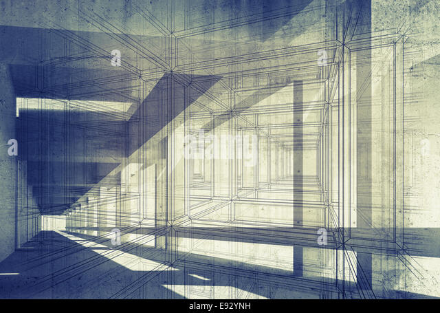 Abstract architecture 3d background with perspective view of blue corridor - Stock Image