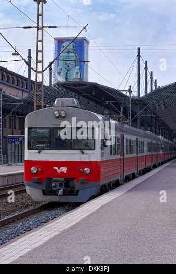 A local train K from Helsinki to Kerava at Helsinki railway station, operated by VR Group. - Stock Image