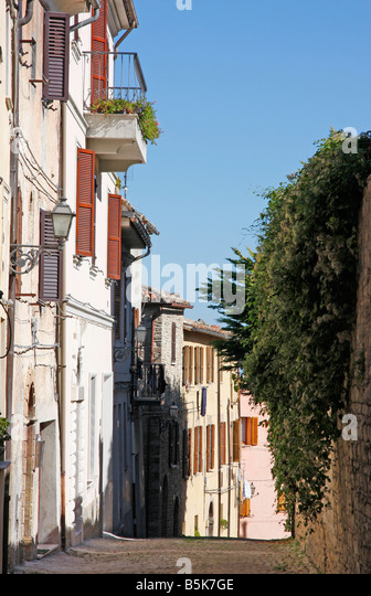 Charming street in Cignoli the hilltown of Le Marche,Italy, called the 'Balcony of the Marche' because of - Stock Image