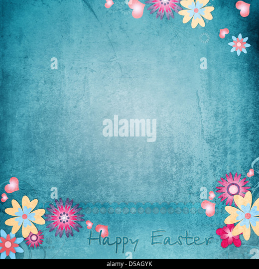 Happy Easter Greeting Card With Flowers, Hearts - Stock Image