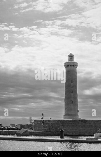 Lighthouse Against Cloudy Sky - Stock Image