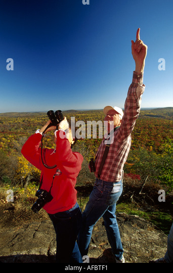 New Jersey Highlands Wildcat Ridge Wildlife Management Area Hawk Watch Overlook fall colors birders - Stock Image