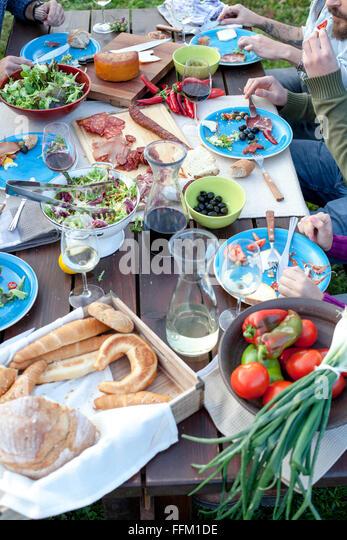 Group of friends celebrating together on garden party - Stock-Bilder