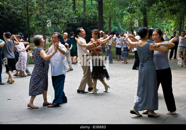 Ballroom dancing in Renmin Park Chengdu Sichuan Province China JMH3276 - Stock Image