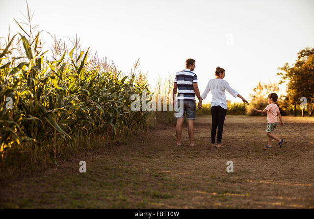 Family with one child walking along dirt road next to cornfield - Stock Image