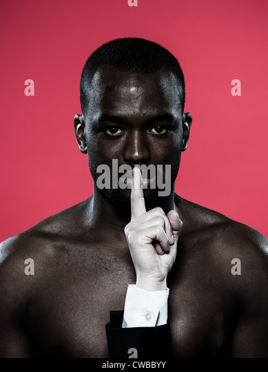 one african man hand on his mouth Freedom of speech concept - Stock Image