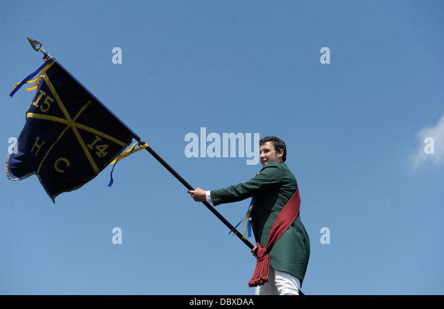 Cornet Chris Ritson displays the Flag above the Committee Rooms during the Common-Riding on June 7, 2013 in Hawick, - Stock-Bilder