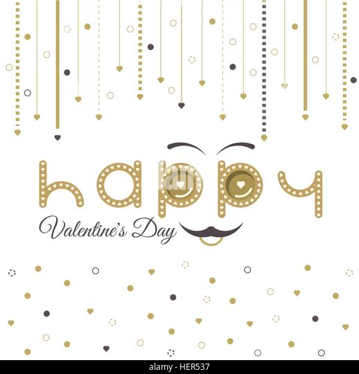 Valentines Day Card Lettering Red Frame. Text with smiley eyebrows and moustache. Valentines Day card lettering - Stock-Bilder