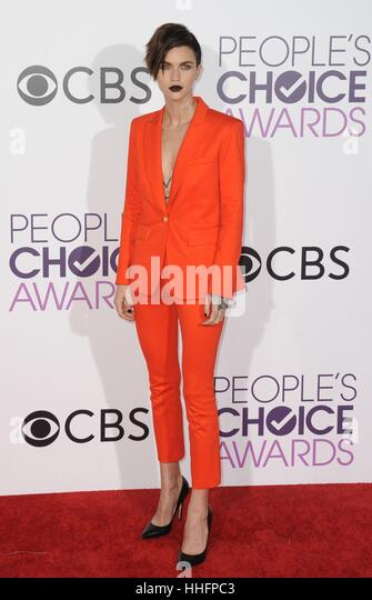 Los Angeles, CA, USA. 18th Jan, 2017. Ruby Rose at arrivals for People's Choice Awards 2017 at the Microsoft - Stock Image
