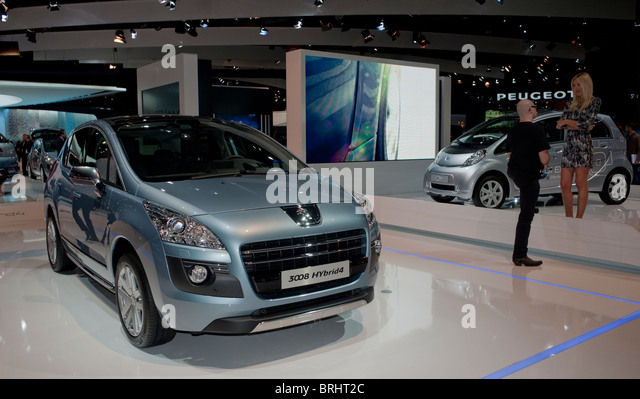Paris, France, Paris Car Show, Peugeot 3008 Hybrid Engine 4, Front - Stock Image