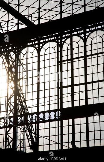 gare des Austerlitz railway station iron and glass architechture - Stock Image