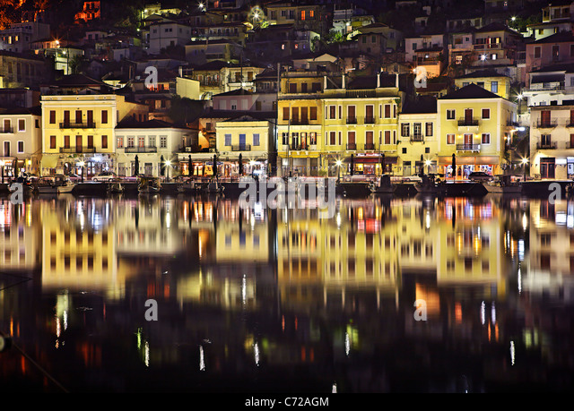 Night view of the small harbor of the picturesque Gytheio town, seaport of Sparta, Mani region, Lakonia, Peloponnese, - Stock-Bilder