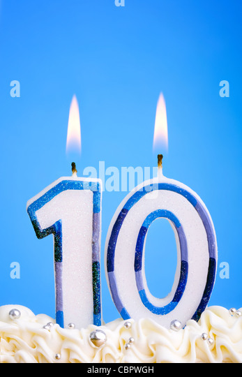 Tenth birthday candles - Stock Image