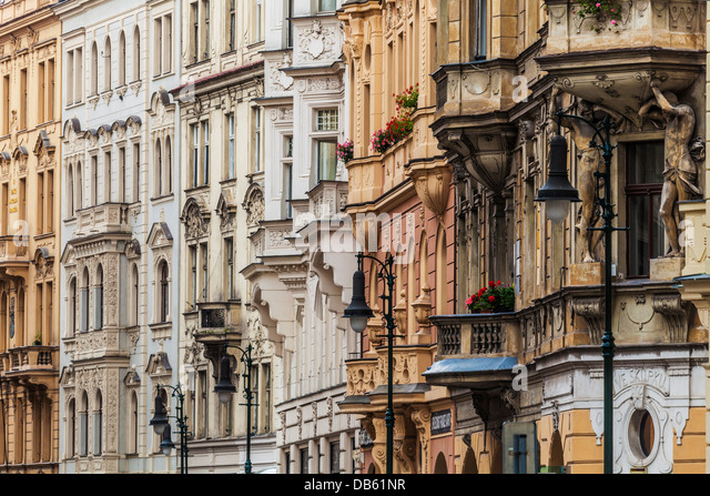 Facades of ornate buildings showing various architectural styles in Siroka Street, in the Jozefov district of Prague. - Stock-Bilder