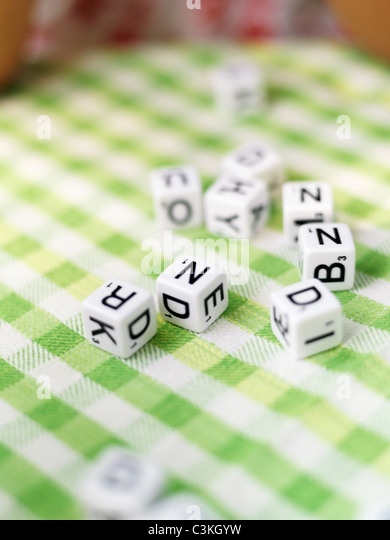 Toy blocks with letters of alphabet - Stock Image