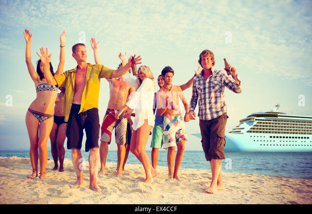 Friends Beach Party Dancing Cheerful Concept - Stock Image