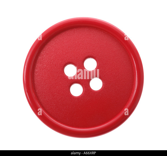 Red button cut out on white background - Stock-Bilder