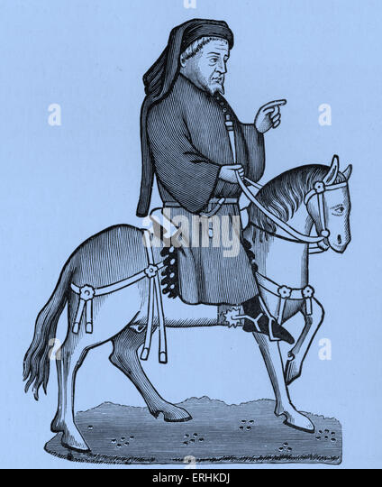Geoffrey Chaucer - Portrait of the English poet on horseback. c. 1343-1400 - Stock Image