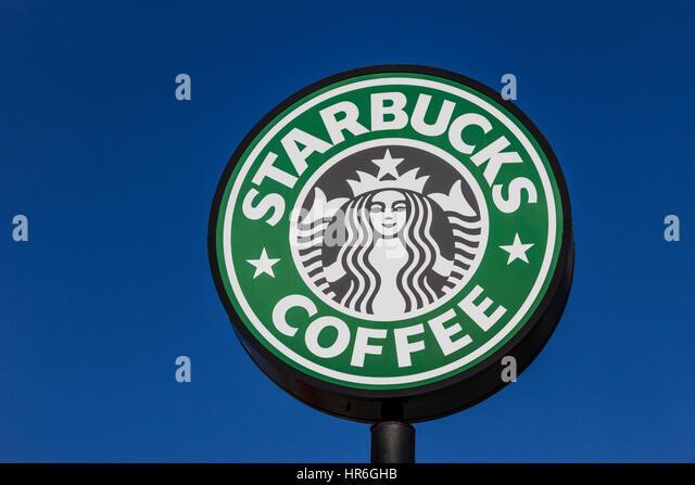 Indianapolis - Circa February 2017: Starbucks Retail Coffee Store. Starbucks is an American Retail Coffee Chain - Stock Image