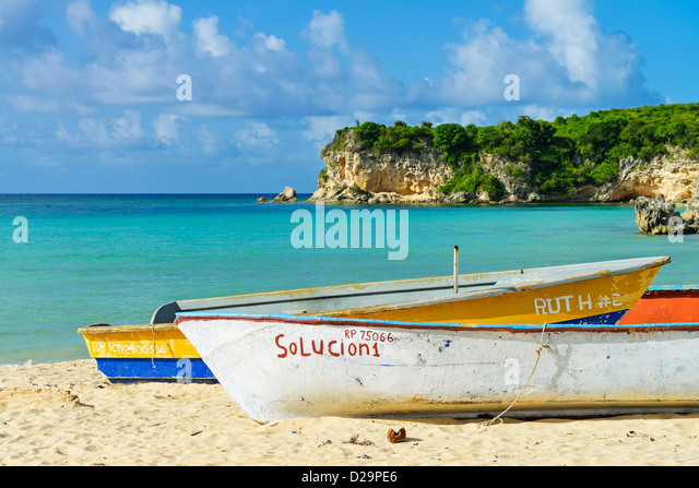 Boats on Playa Macao beach, Punta Cana, Dominican Republic - Stock Image