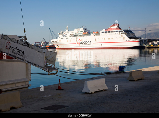 Juan J Sister Acciona Transmediterranea line Ro-Ro ferry ship port Malaga Spain - Stock Image