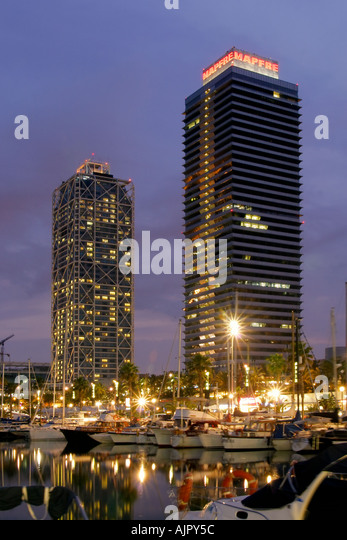 spain Barcelona Barceloneta harbor - Stock Image