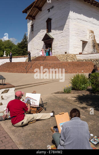 artists at old Mission San Jose; San Jose; California USAMission San Jose; San Jose; California; USA - Stock Image